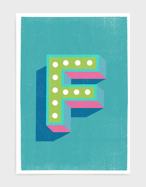 Alphabet print in lights on font against a blue background - letter f