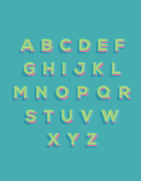 letter sheet displaying examples of all the letters in the alphabet