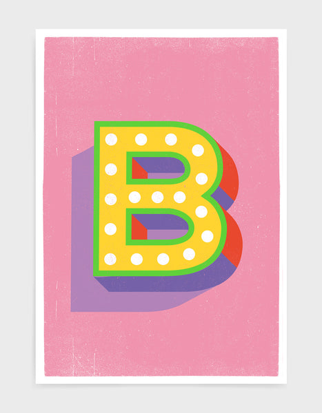 Alphabet print - lights on font in yellow against a pink background - letter b