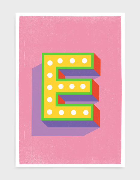 Alphabet print - lights on font in yellow against a pink background - letter e