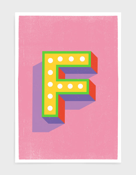 Alphabet print - lights on font in yellow against a pink background - letter f