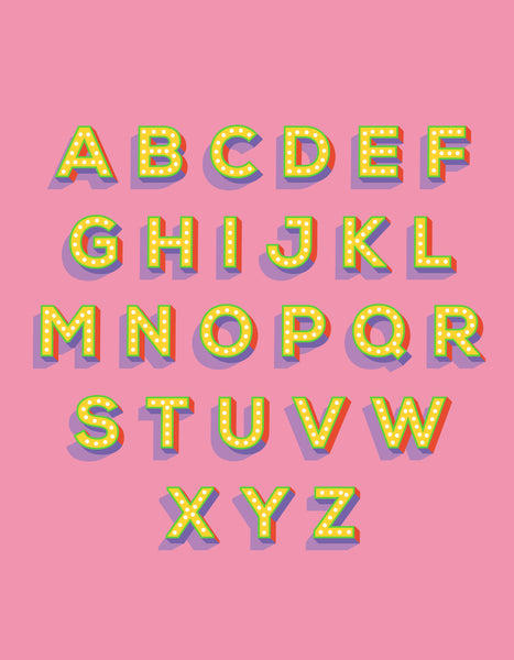 Alphabet print - lights on font in yellow against a pink background - full alphabet