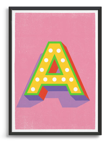 Alphabet print - lights on font in yellow against a pink background - letter a