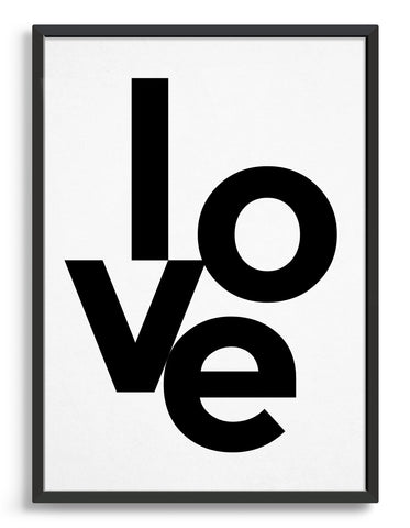 framed typography art print with the word love in black type against a white background