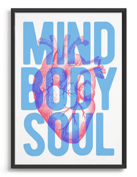 framed typography art print with a vintage heart diagram overlaid with blue text saying Mind Body Soul