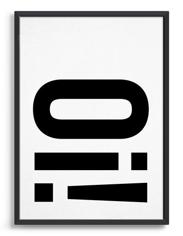 typography art print with Oi! in black against a white background