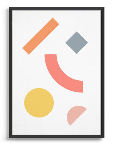 Modern abstract art print with geometric multi coloured shapes against a white background