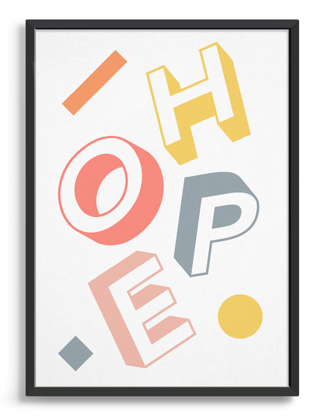 Typography print with the word hope in pastel coloured bold letters against a white background