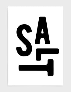 typography art print of the word salt in black text against a white background