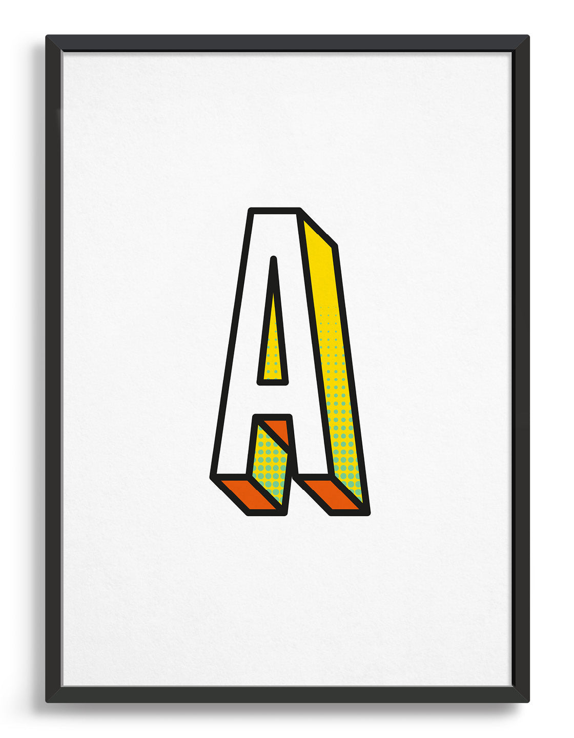 Letter A 3D style initial print with black outline and yellow and orange detail against a white background