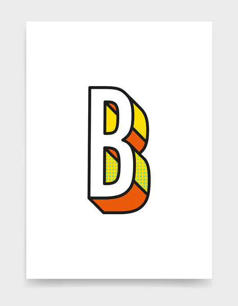 Letter B 3D style initial print with black outline and yellow and orange detail against a white background