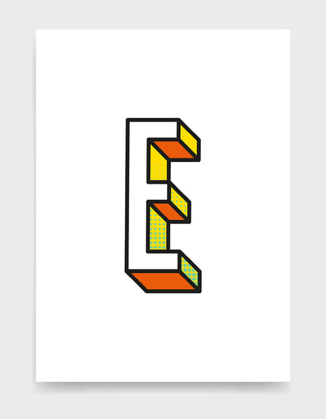Letter E 3D style initial print with black outline and yellow and orange detail against a white background