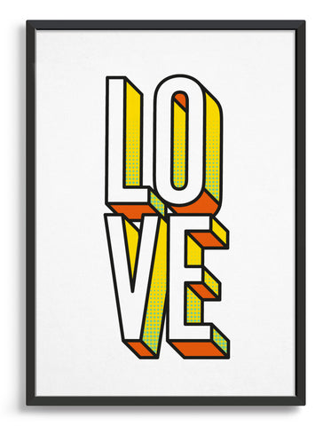 Bold modern typography print of the word LOVE in 3D custom font with yellow and orange accents against a white background