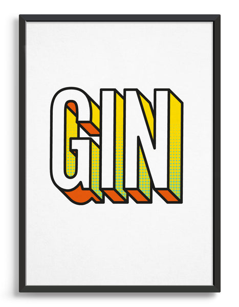 This gin typography wall print features our own bold typeface. A simple stylish typeface poster that any gin lover will want for their home.