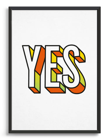 Yes bold typography print in 3D custom font with yellow and orange accents against a white background