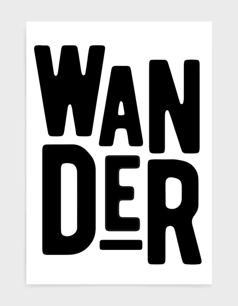 typography art print of the word wander in black text against a white background