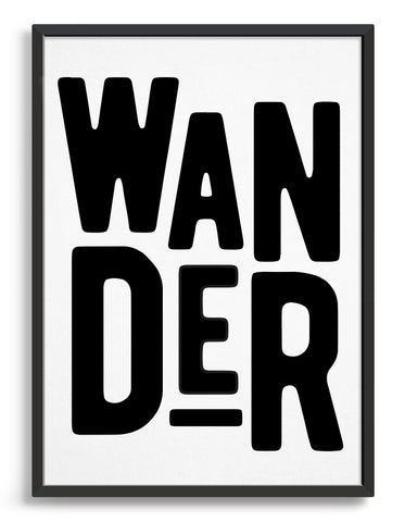 Framed typography art print of the word Wander in black text against a white background