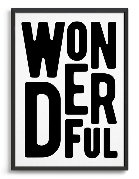 framed typography art print of the word wonderful in black text on a black background
