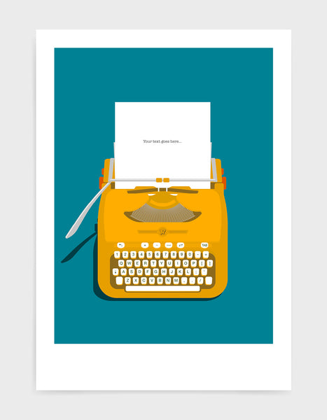 Art print showing a retro vintage typewriter in yellow with paper in the top and space to personalise the text. Set against a bright blue background