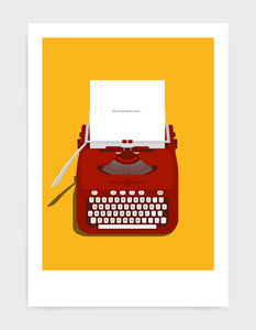 Art print showing a retro vintage typewriter in red with paper in the top and space to personalise the text. Set against a bright yellow background