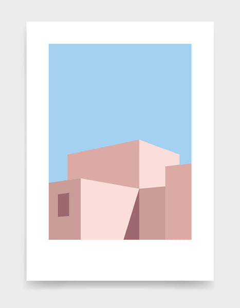 Geometric abstract art print depicting a building in shadow
