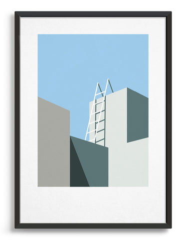 architectural style geometric abstract art print with building tops in shadow and ladder