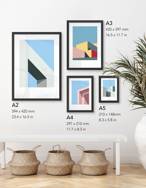 Image showing a variety of styles from the abstract collection in a gallery wall setting to illustrate the different sizes