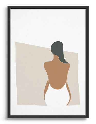 Minimal art print in earthy tones depicting a woman in swimsuit with her back facing the viewer