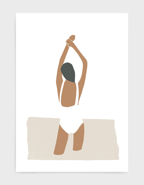 Add some minimal style to your home decor with this modern art print featuring a hand drawn woman in a swimsuit.