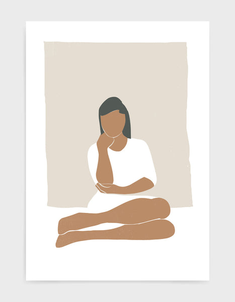 Abstract art print of woman in muted tones sitting with knees to one side and hand on chin