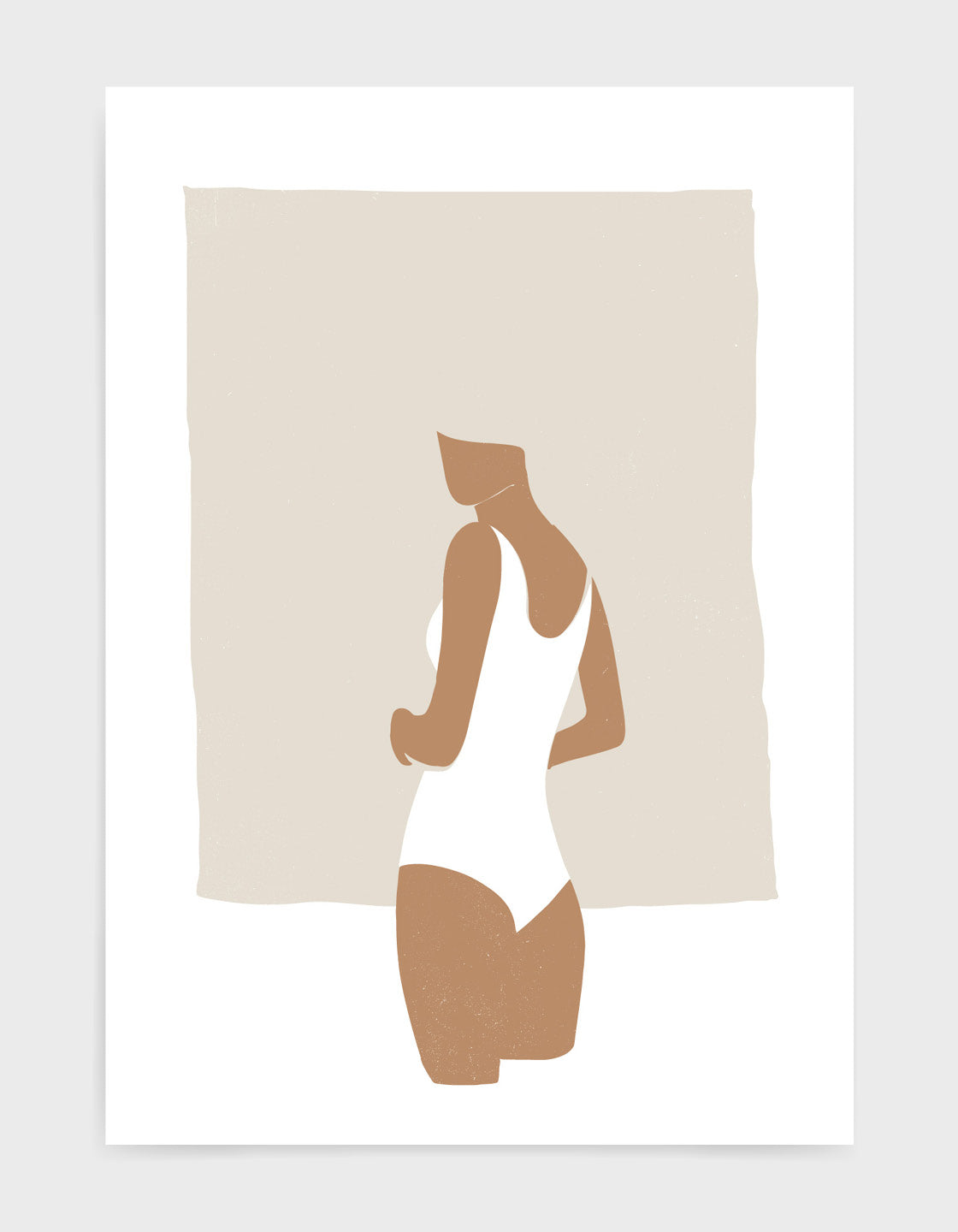 Abstract female figure art print of woman in white swimsuit