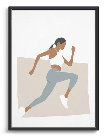 Minimal art print showing a woman in profile running against a neutral background. She wears a white vest and grey leggings and has an athletic physique
