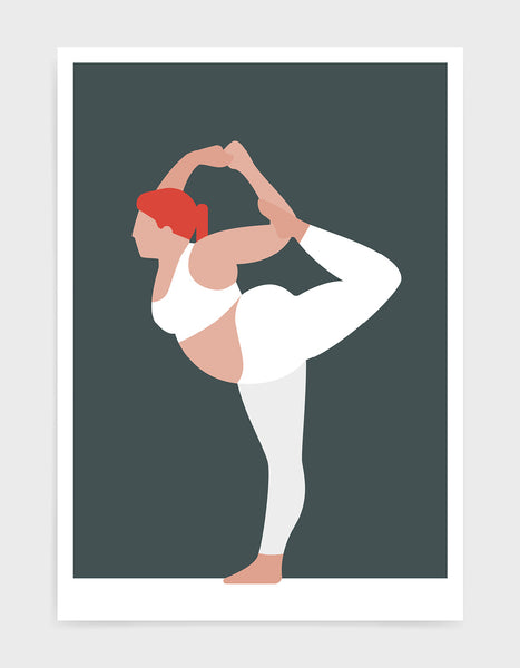 yoga pose print o a larger lady in standing bow pose against a grey background
