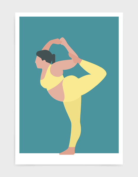 yoga pose print o a larger lady in standing bow pose against a blue background