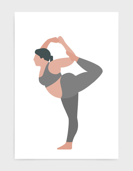 yoga pose print o a larger lady in standing bow pose against a white background