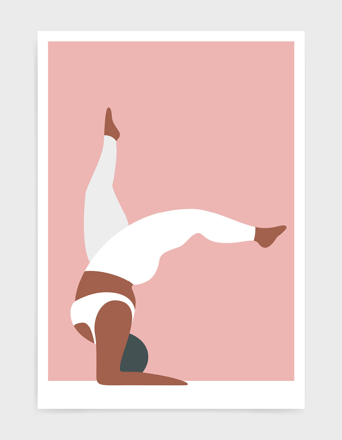 Yoga pose print of a larger lady in a handstand pose with split legs against a pink background