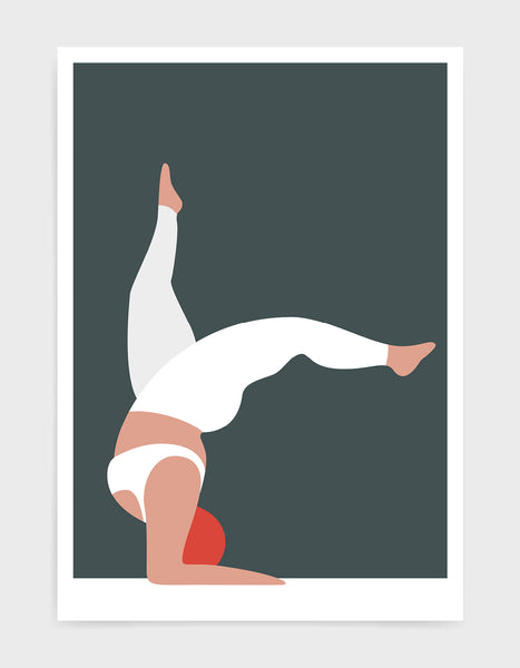 Yoga pose print of a larger lady in a handstand pose with split legs against a grey background