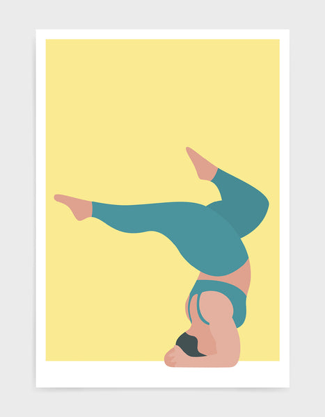 Yoga pose print of a larger lady in a handstand pose with split legs against a yellow background