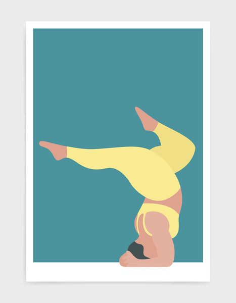 Yoga pose print of a larger lady in a handstand pose with split legs against a blue background