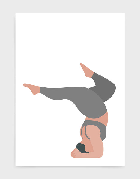 Yoga pose print of a larger lady in a handstand pose with split legs against a white background