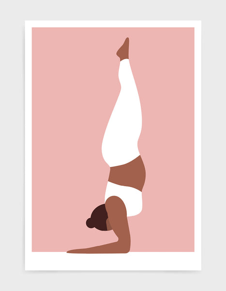 Yoga art print depicting a larger lady in a forearm handstand wearing white yoga clothing against a pink background