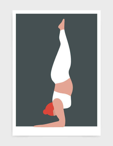 Yoga art print depicting a larger lady in a forearm handstand wearing white yoga clothing against a greeny grey background