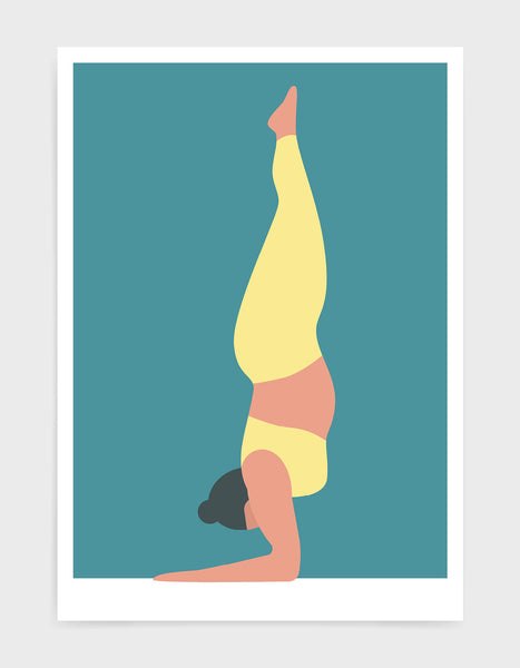 Yoga art print depicting a larger lady in a forearm handstand wearing yellow yoga clothing against a bright blue background
