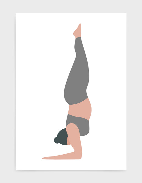 Yoga art print depicting a larger lady in a forearm handstand wearing grey yoga clothing against a white background
