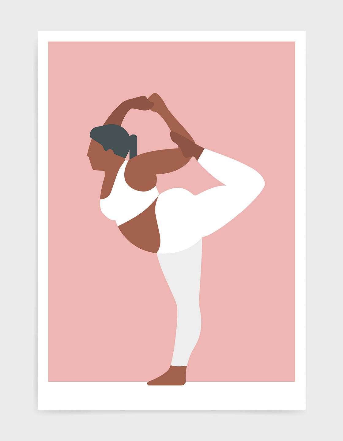 yoga pose print o a larger lady in standing bow pose against a pink background