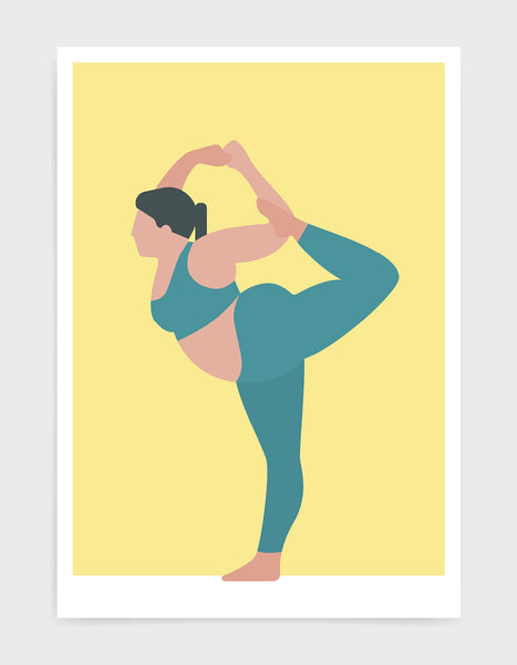yoga pose print o a larger lady in standing bow pose against a yellow background
