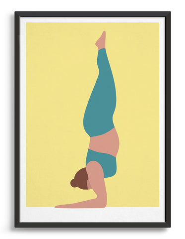Yoga art print depicting a larger lady in a forearm handstand wearing teal yoga clothing against a pale yellow background
