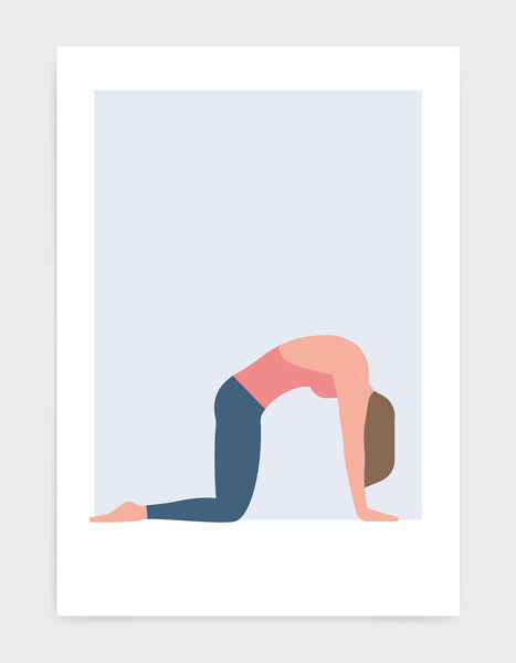art print illustration of a woman in cat cow yoga pose on a blue background