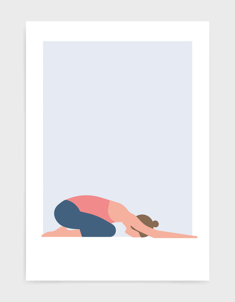 Illustration of a woman in childs pose yoga position against a blue background