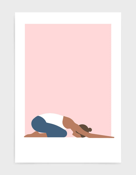 Illustration of a woman in childs pose yoga position against a pink background